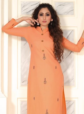 Cotton Salwar Suit in Peach