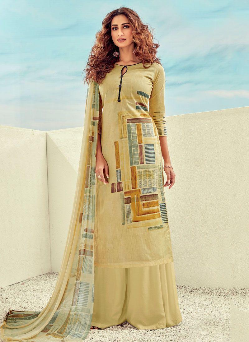Cotton Salwar Suit in Yellow