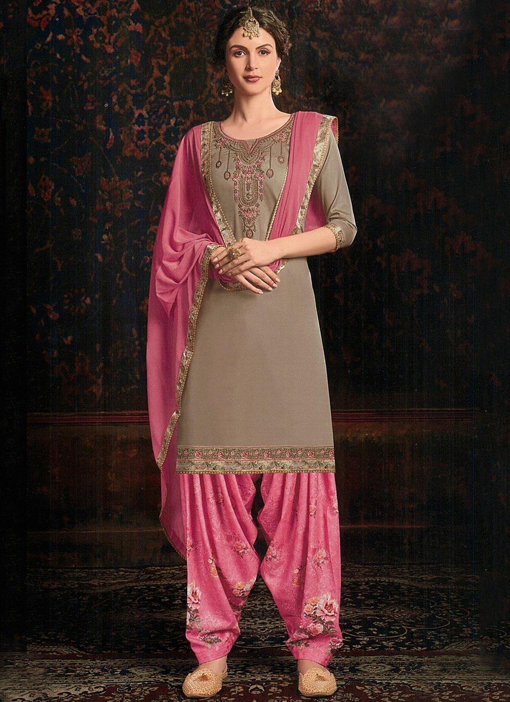 Cotton Satin Grey Resham Salwar Kameez