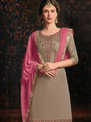 Cotton Satin Grey Resham Salwar Kameez