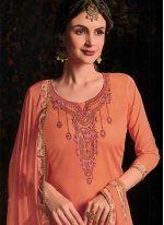 Cotton Satin Orange Designer Salwar Kameez