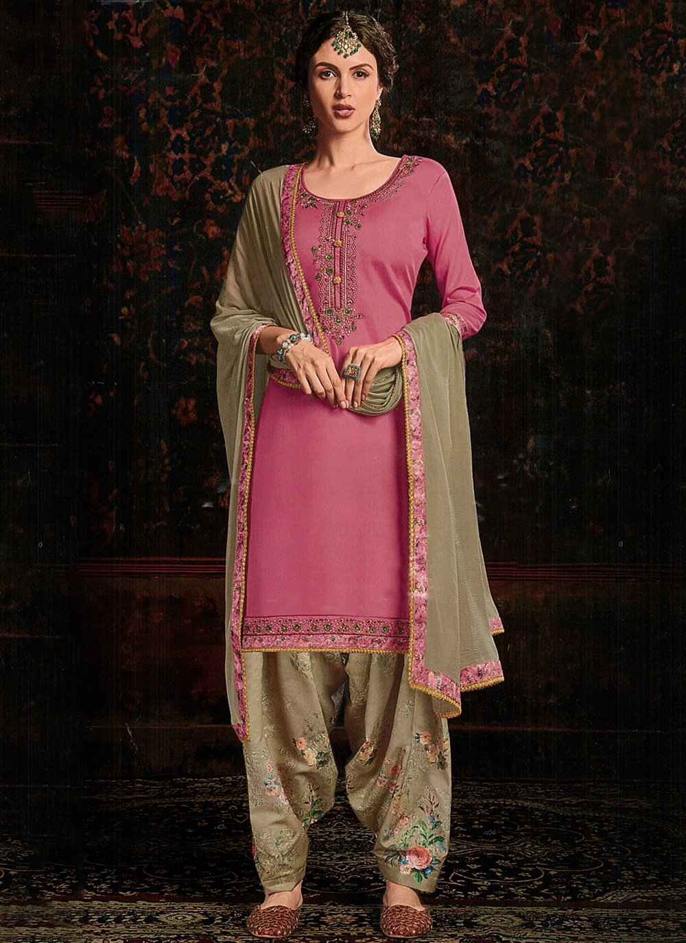 Cotton Satin Pink Trendy Salwar Kameez