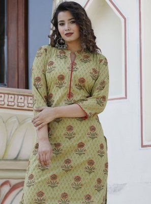 Cotton Sea Green Casual Kurti