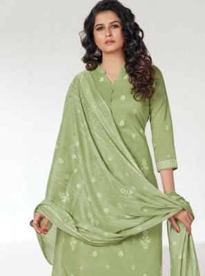 Cotton Sea Green Designer Straight Salwar Kameez