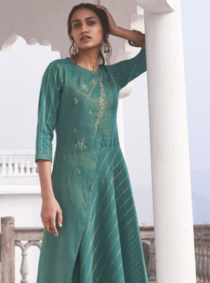 Cotton Sea Green Printed Designer Kurti