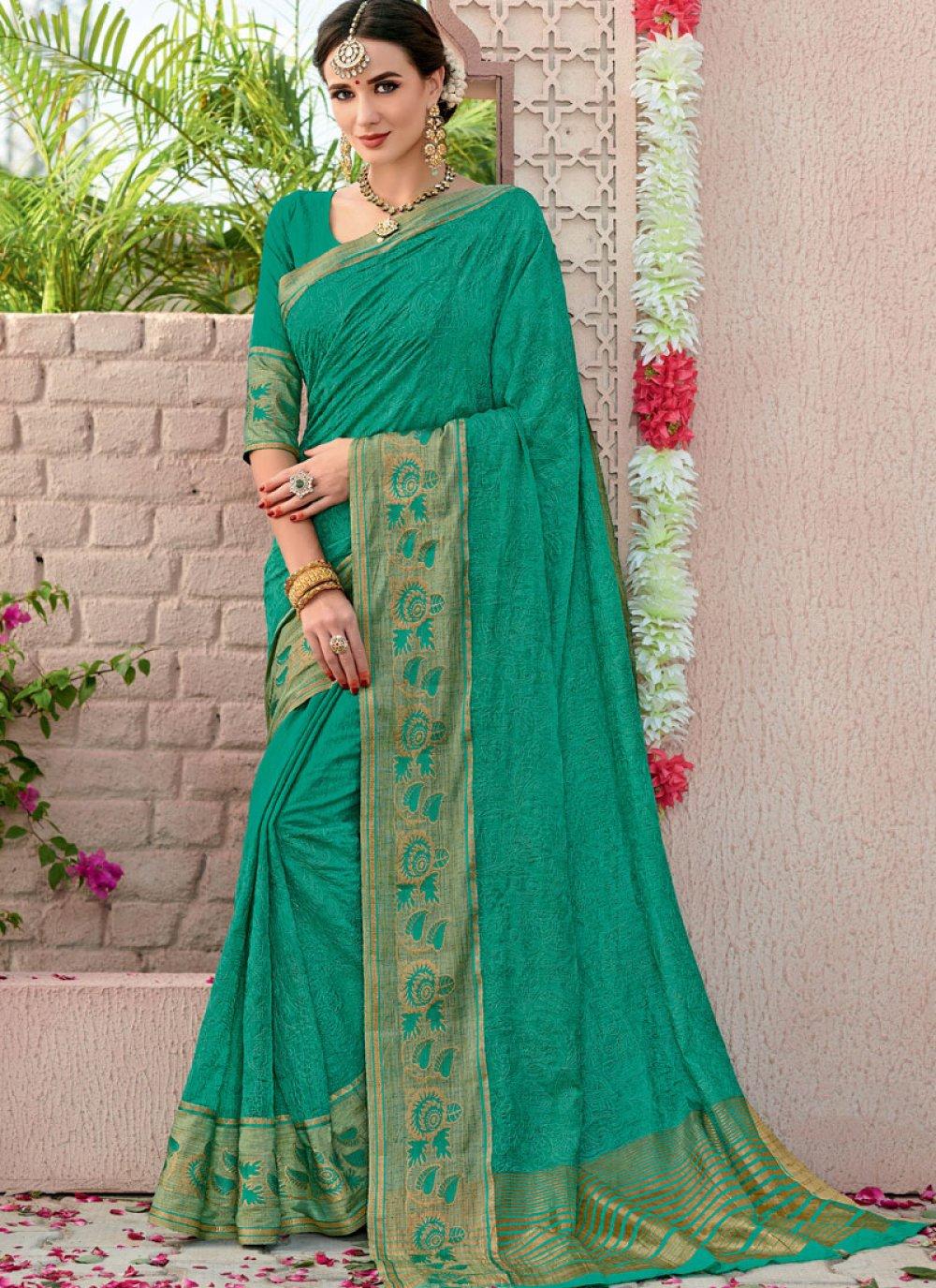 Cotton Sea Green Woven Designer Saree