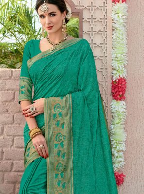 Cotton Sea Green Woven Designer Saree