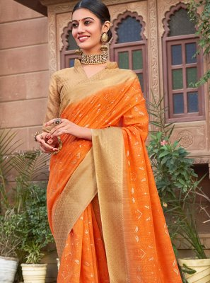 Cotton Silk Abstract Print Classic Designer Saree in Orange