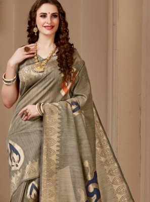 Cotton Silk Beige Print Traditional Designer Saree