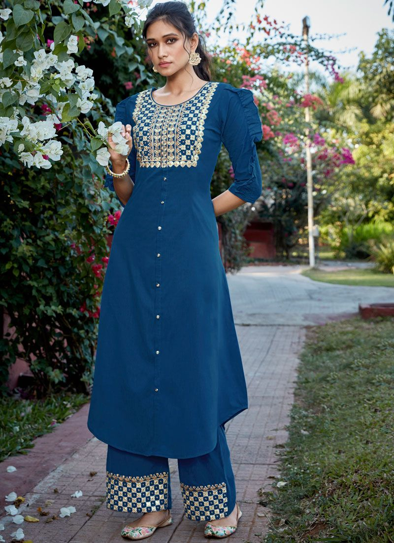 Cotton Silk Blue Embroidered Readymade Suit