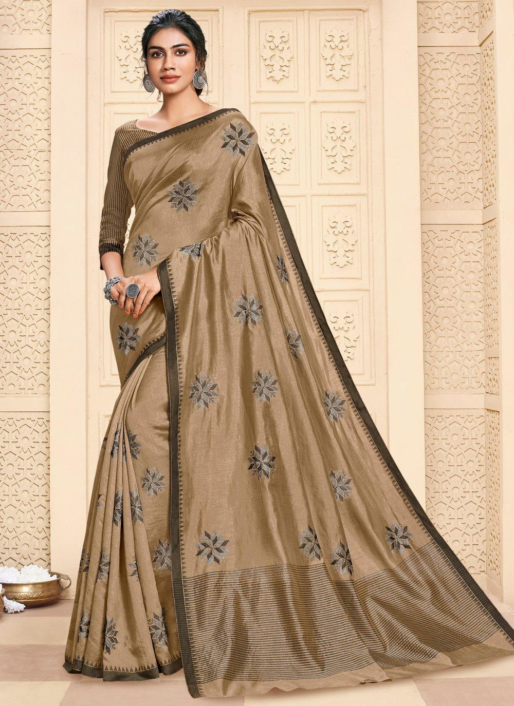 Cotton Silk Brown Saree