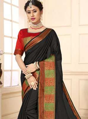 Cotton Silk Casual Saree in Black