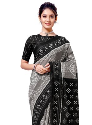 Cotton Silk Casual Saree in Black and Grey