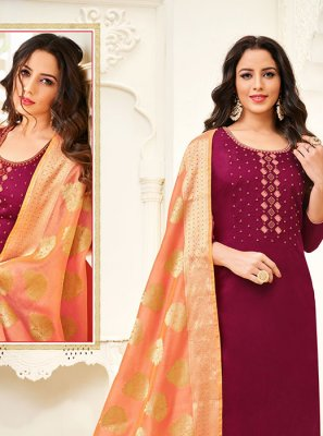 Cotton Silk Churidar Designer Suit in Maroon