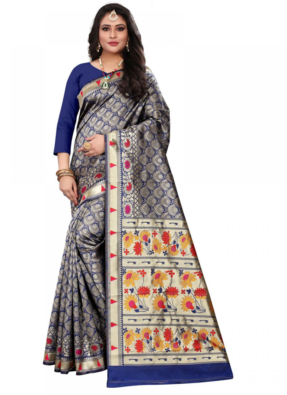 Cotton Silk Classic Designer Saree in Navy Blue