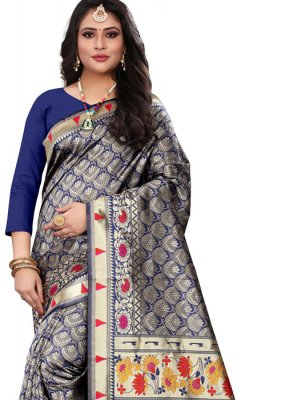 Cotton Silk Classic Designer Saree in Navy Blue