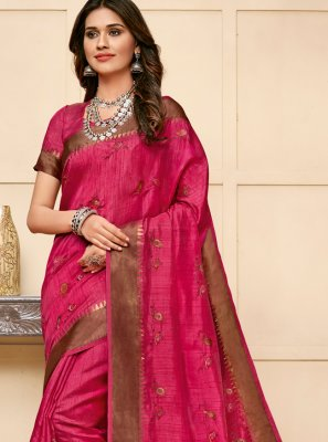 Cotton Silk Classic Saree in Pink