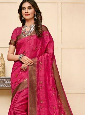 Cotton Silk Classic Saree in Pink