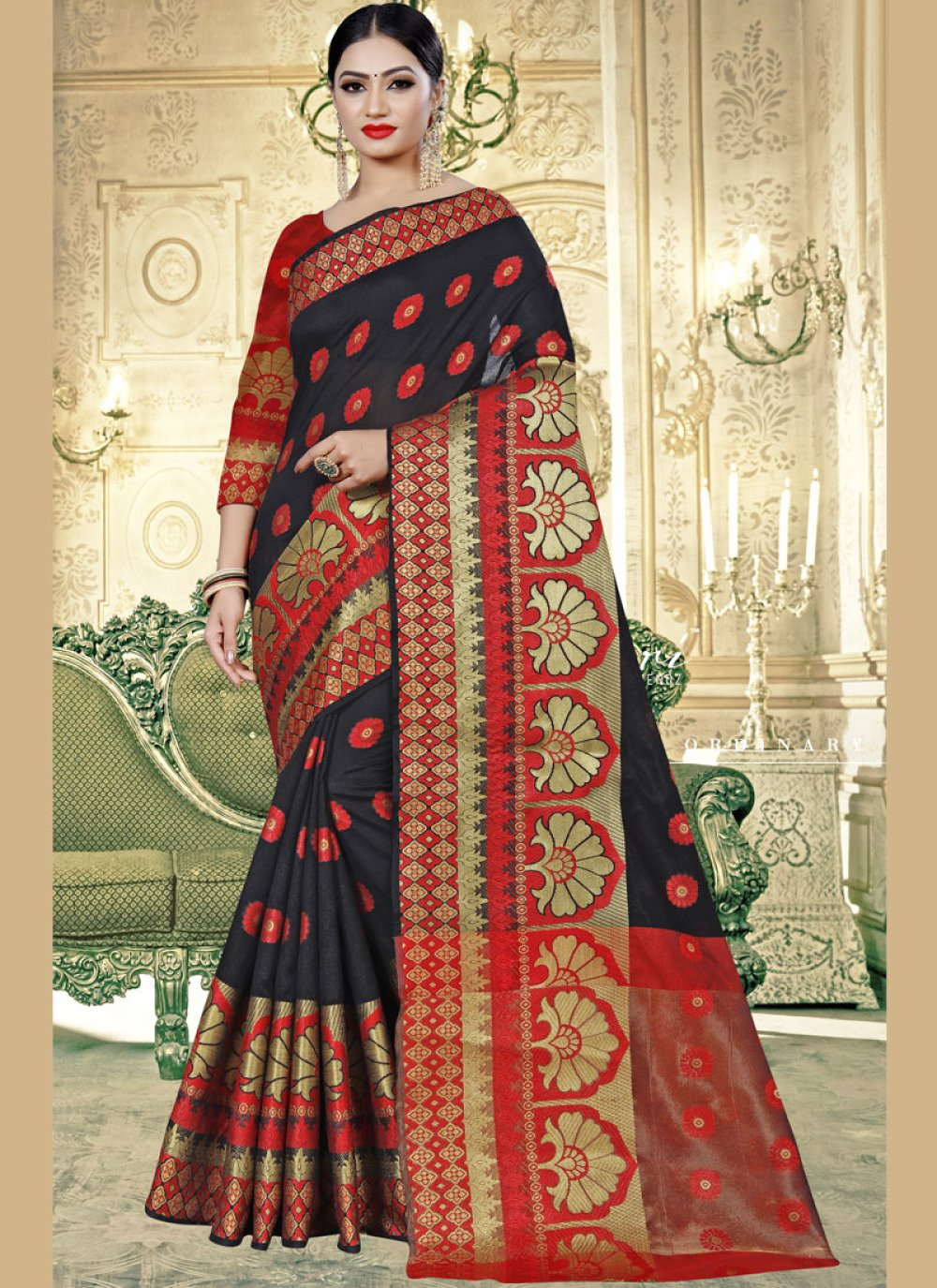 Cotton Silk Contemporary Saree in Black and Red