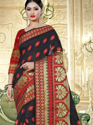 Cotton Silk Contemporary Saree in Black and Red