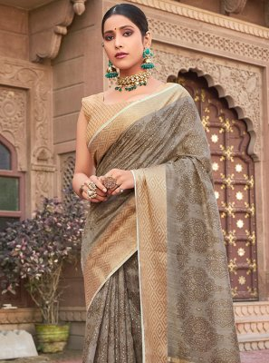 Cotton Silk Contemporary Saree in Grey