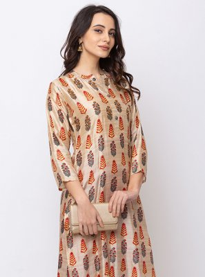 Cotton Silk Designer Kurti in Cream