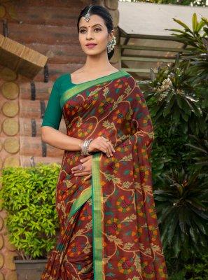 Cotton Silk Designer Saree in Multi Colour