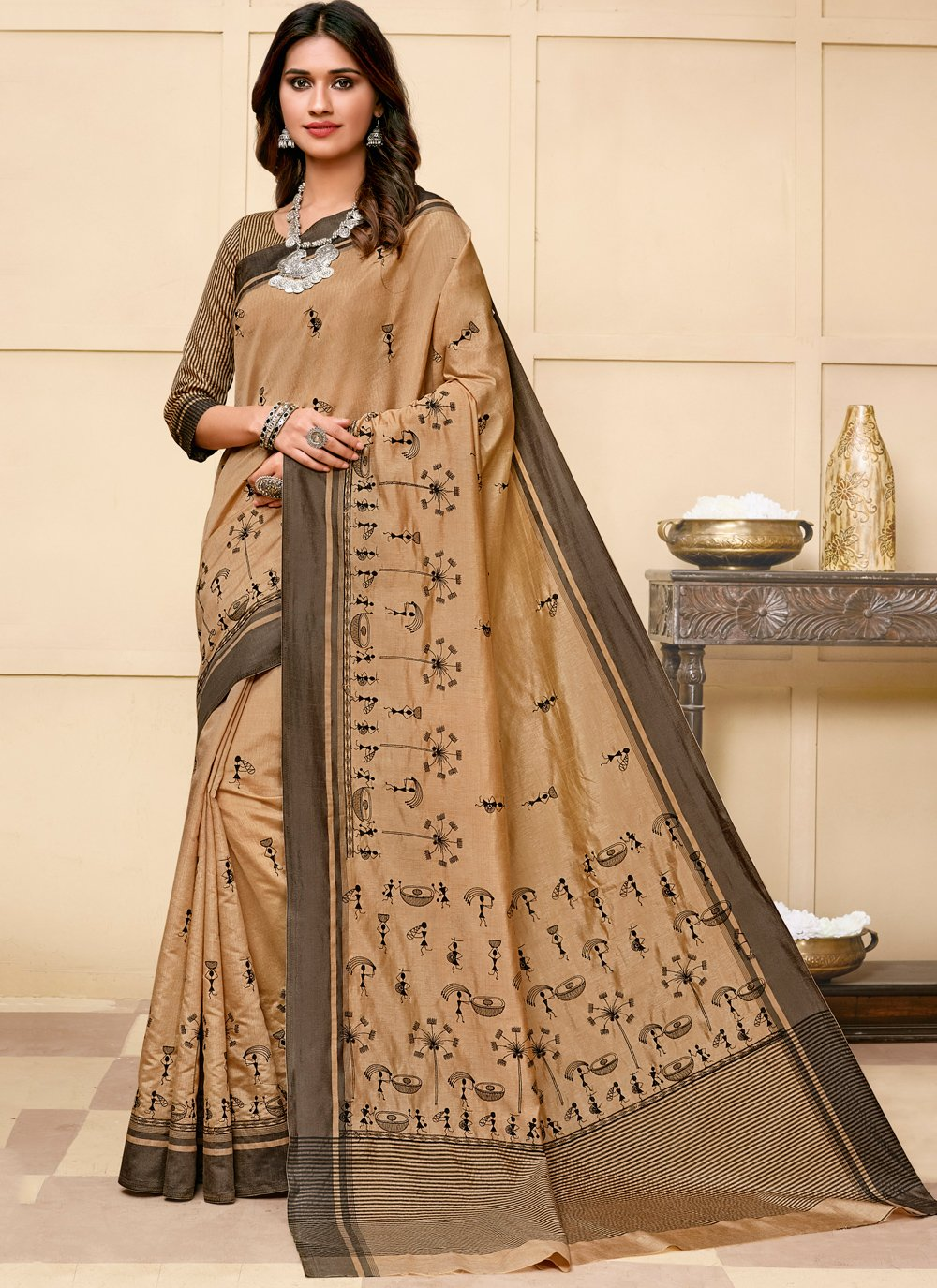 Cotton Silk Embroidered Contemporary Style Saree in Brown