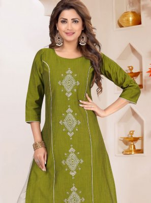 Cotton Silk Embroidered Green Palazzo Salwar Suit