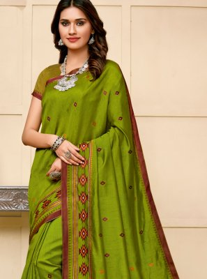 Cotton Silk Green Classic Saree