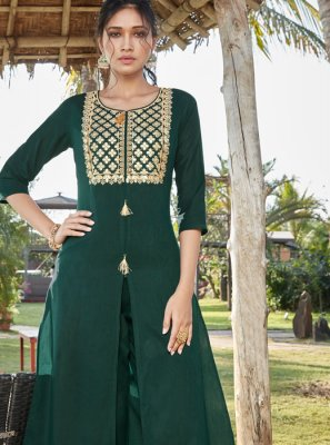 Cotton Silk Green Designer Pakistani Suit