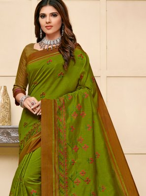 Cotton Silk Green Designer Saree