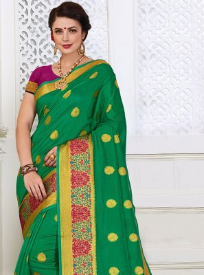 Cotton Silk Green Woven Classic Designer Saree