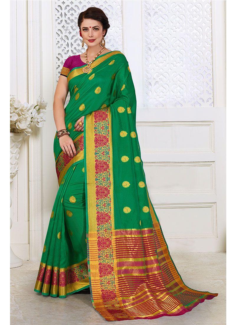 Cotton Silk Green Woven Classic Designer Saree