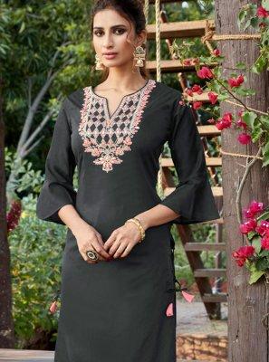 Cotton Silk Grey Designer Pakistani Suit