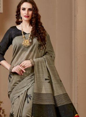 Cotton Silk Grey Designer Traditional Saree