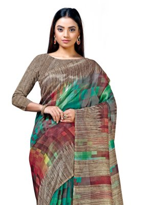 Cotton Silk Multi Colour Printed Casual Saree