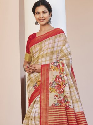 Cotton Silk Multi Colour Printed Saree