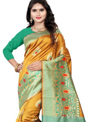 Cotton Silk Mustard Casual Saree