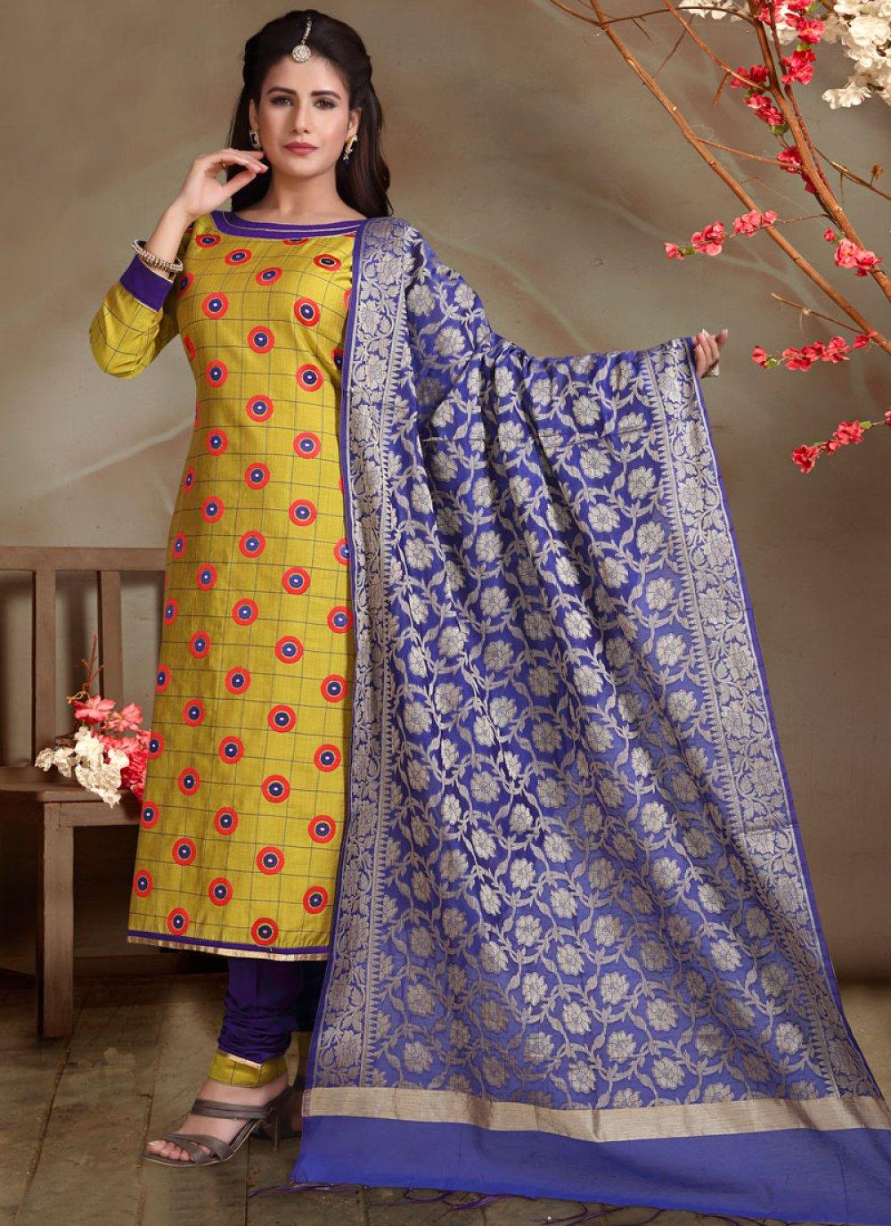 Cotton Silk Mustard Printed Churidar Salwar Kameez
