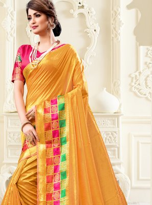 Cotton Silk Mustard Saree