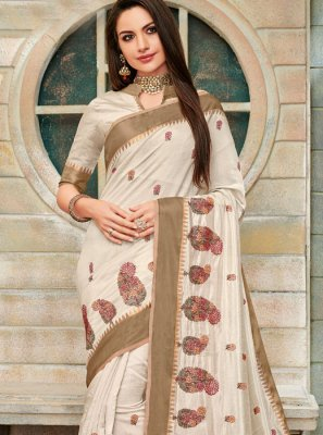 Cotton Silk Off White Embroidered Trendy Saree