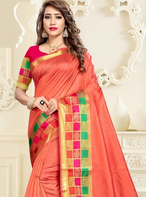 Cotton Silk Peach Saree