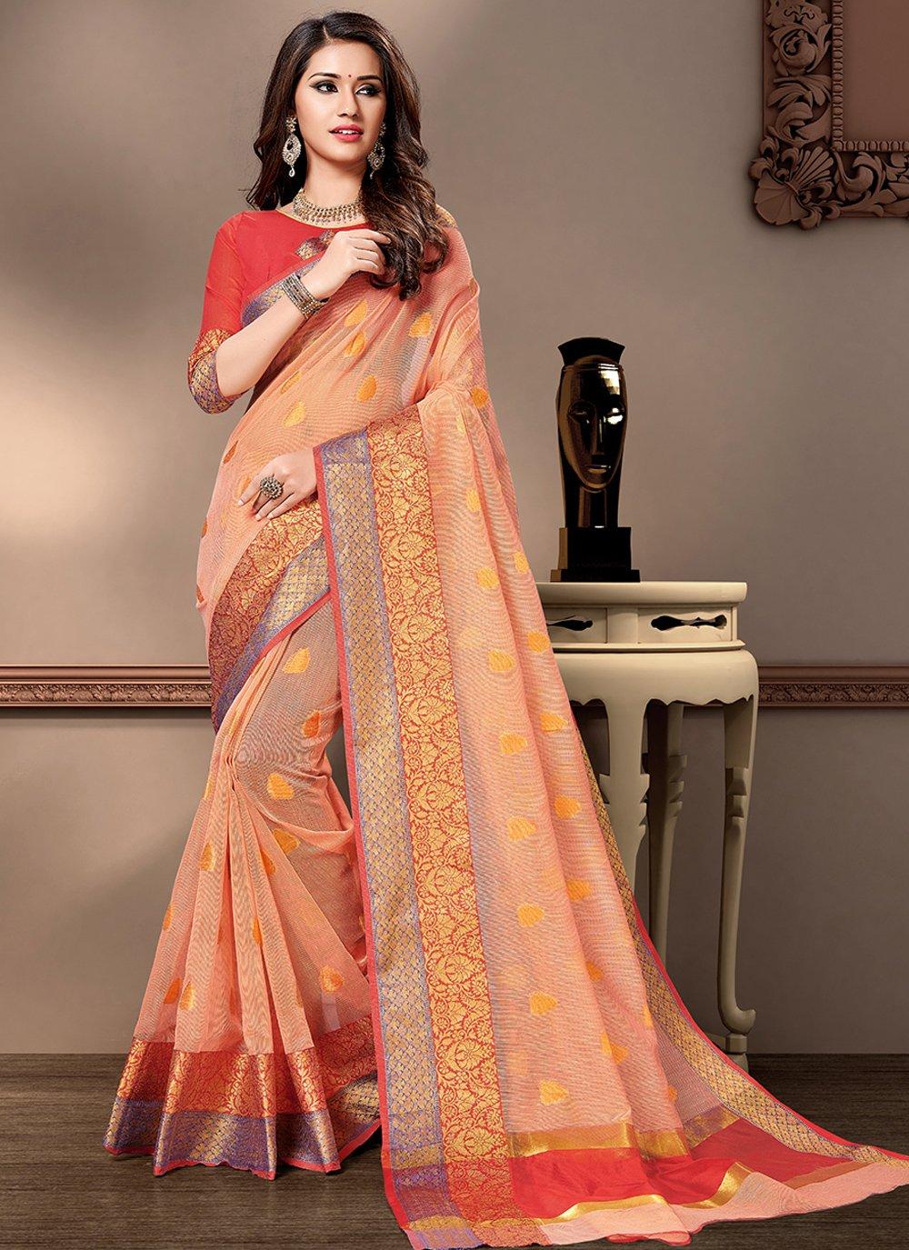 Cotton Silk Peach Weaving Traditional Saree