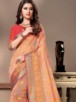 Cotton Silk Peach Weaving Traditional Saree