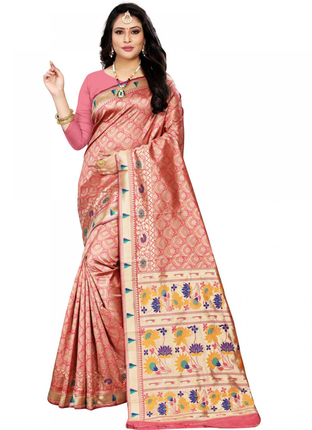 Cotton Silk Pink Classic Saree
