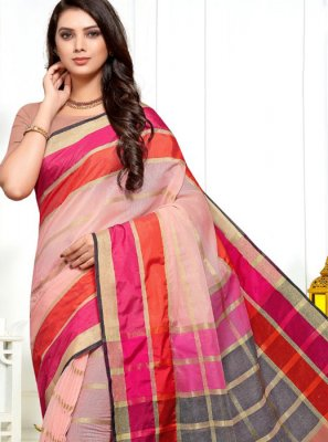 Cotton Silk Pink Weaving Saree
