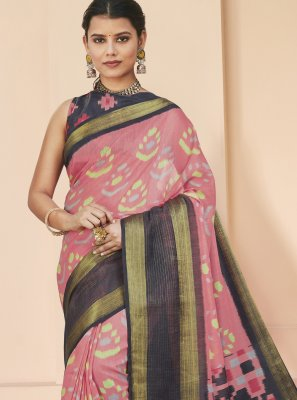 Cotton Silk Print Saree in Peach