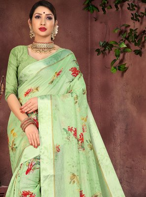 Cotton Silk Printed Casual Saree in Green