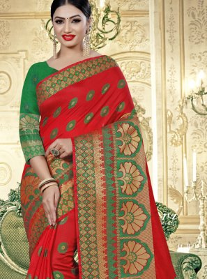 Cotton Silk Printed Classic Designer Saree in Red
